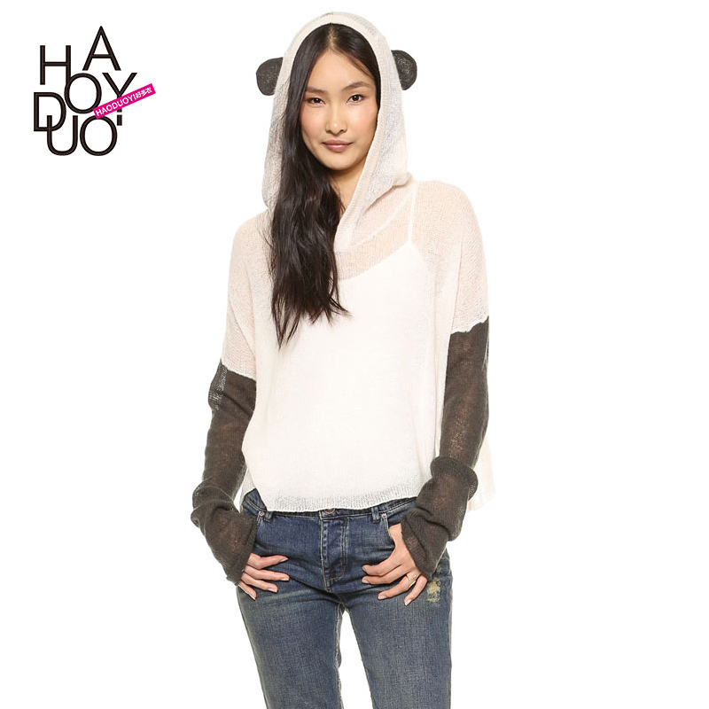 Стерео Panda Hat жаккардовым дизайн в черно-белый контраст падение плеча свитер женщин свитер haoduoyi