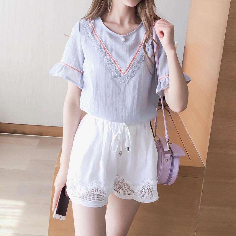 又见小夕夏季新款韩版花边拼接假V领钉珠荷叶袖上衣短袖雪纺衫女
