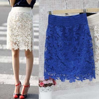 Water soluble lace skirt professional hip skirt spring and summer womens large medium length high waist one-step skirt short skirt