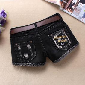春夏韩版女士破洞黑色牛仔短裤