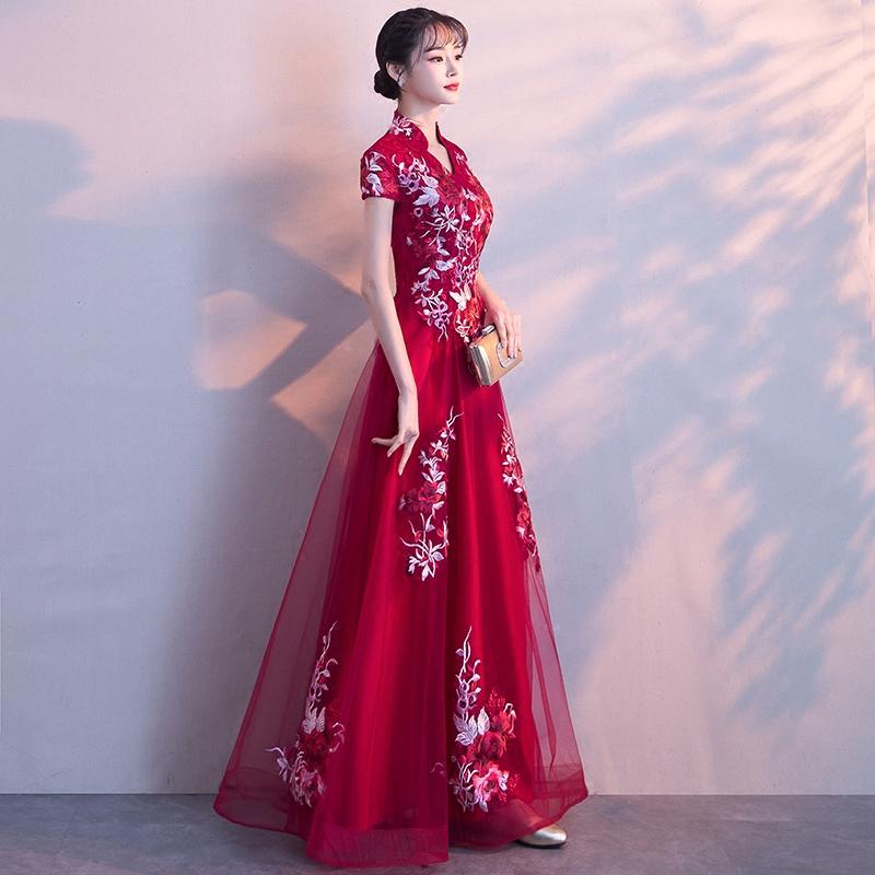 敬酒服新娘夏季2018结婚新款红色端庄大气显瘦长款旗袍晚礼服裙女