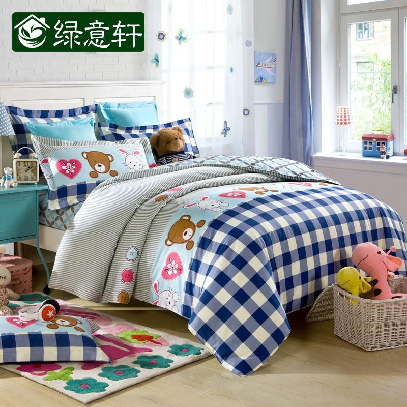 Домашний текстиль зеленый крыльцо весна/лето набор три или четыре хлопок Детские постельные принадлежности хлопка студентов на одностраничные Одеяло Обложка