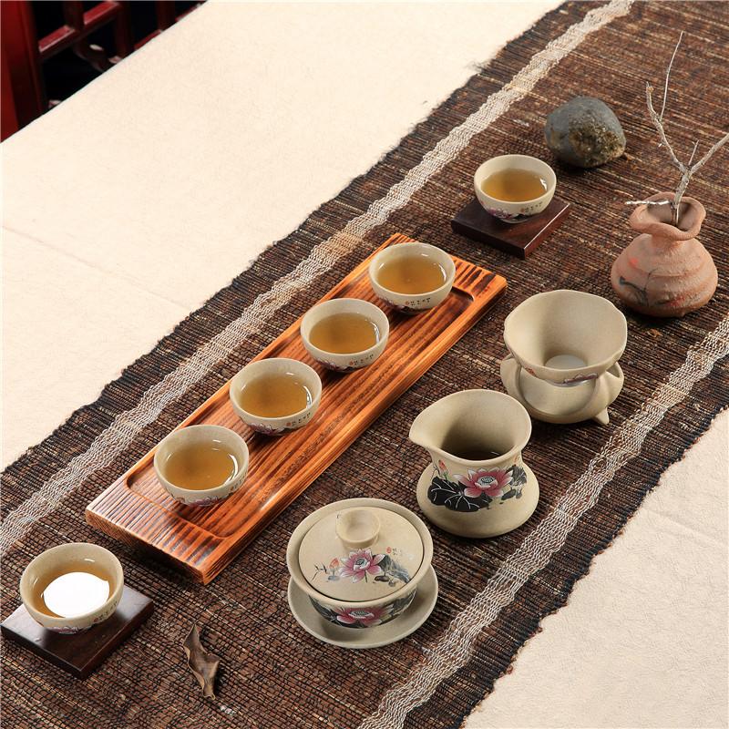邱公子 手繪功夫茶具茶杯蓋碗套裝粗陶瓷器中式家用辦公室6人
