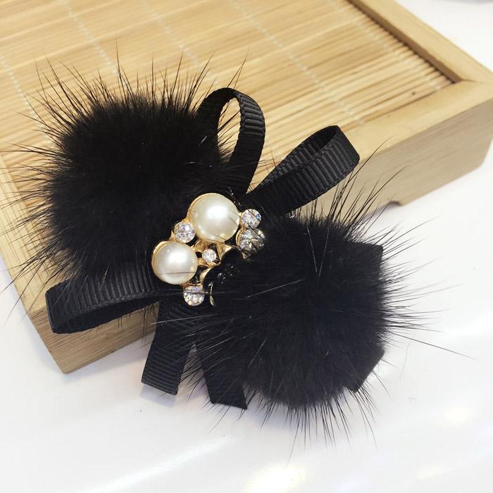 Korean hairstyle bow hairpin mink hair ball pearl hairband Princess fan side hairpin hairband headdress