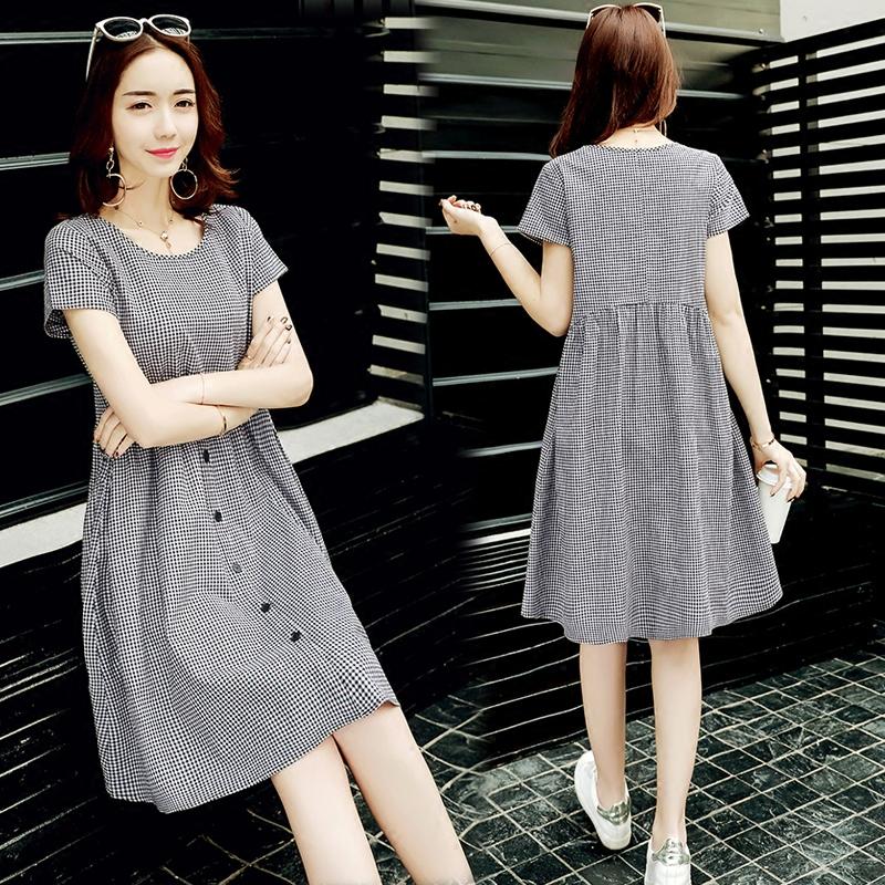 2020夏季新款女装文艺宽松显瘦黑白格子中长裙短袖圆领棉麻连衣裙