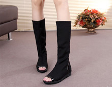Increased in the new age season 2015 flat boots elastic thin leg female boots fish mouth single boots boots with Europe and the United States