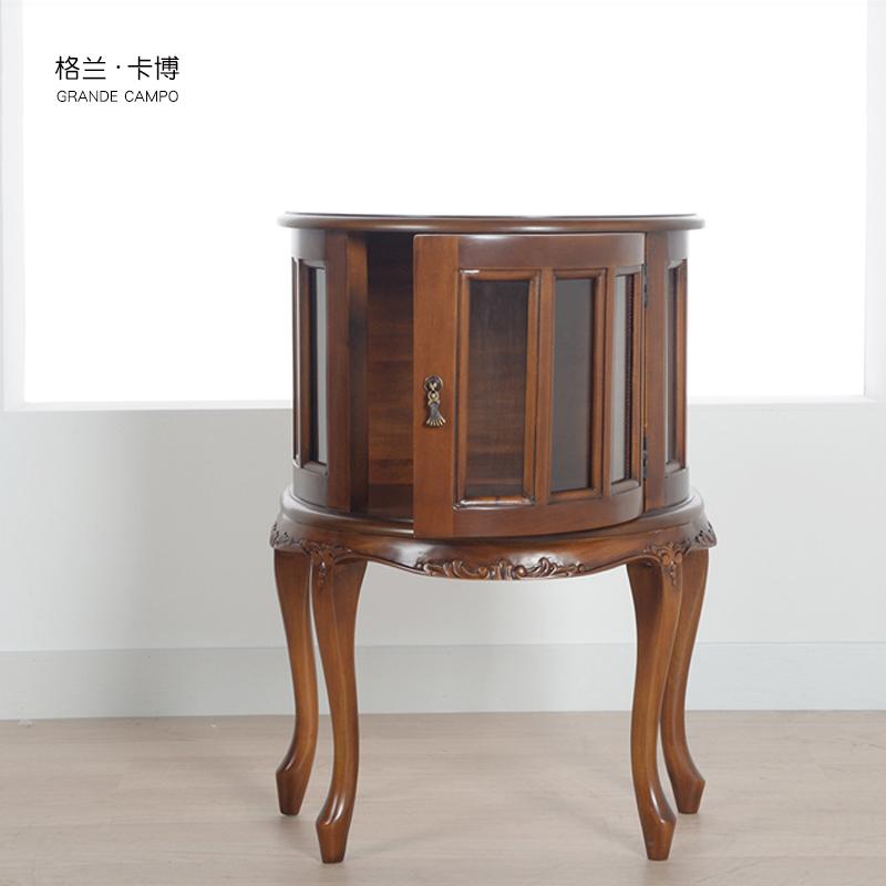 格兰卡博 桃花心实木角柜收纳柜 欧式沙发边柜 美式茶几桌玻璃柜