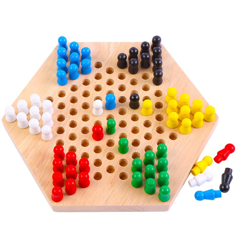 兒童益智力親子玩具實木制桌面跳棋