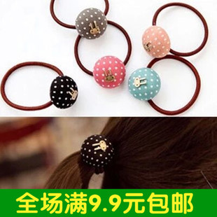 South Korean imports of hair ring Korean cute little retro rabbit dot hair rope rope hair jewelry