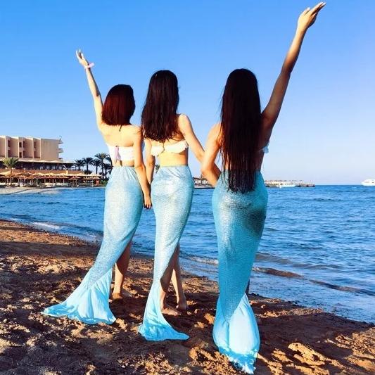 Приморский песчаный пляж праздник сексуальный русалки хвост платье женщин марр поколение муж генерал счастливый морской остров сексуальный бикини юбка