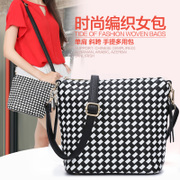 ZYA in autumn and winter the new 2015 surge bucket Bag Handbag Black and white contrast color shoulder bag diamond Plaid bags baodan shoulder bag women