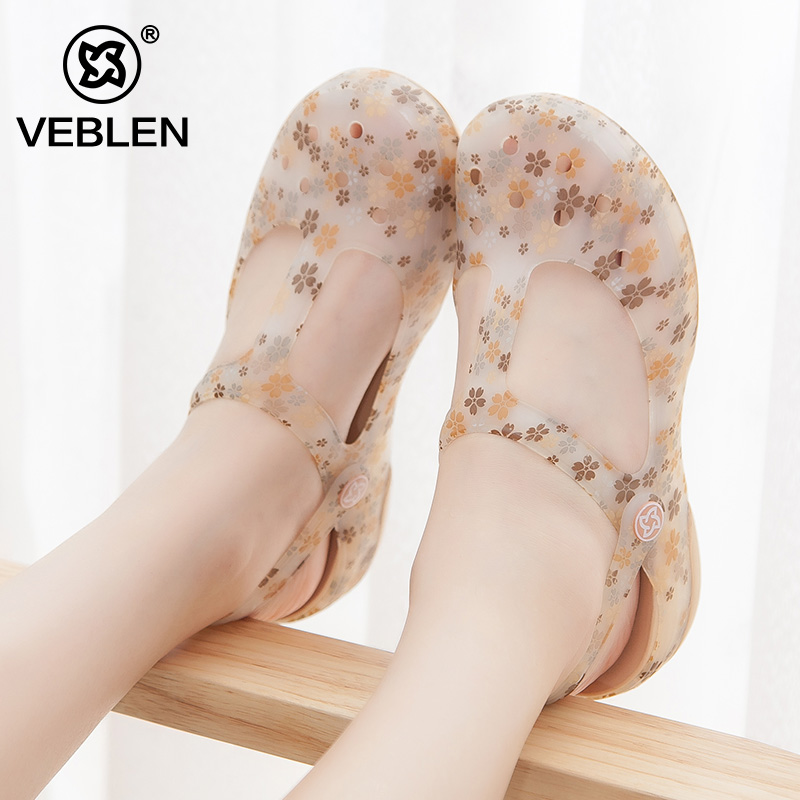 VEBLEN2017 новый отверстие обувь мисс корейский скольжение песчаный пляж обувной сандалии лето желе обувной дикий шлепанцы