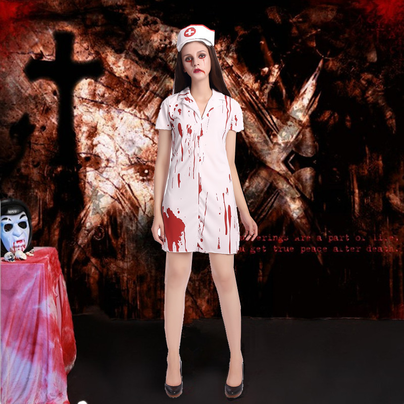 Halloween Halloween Ghost Festival horror bloody nurse costume with blood adult female nurse role play costume