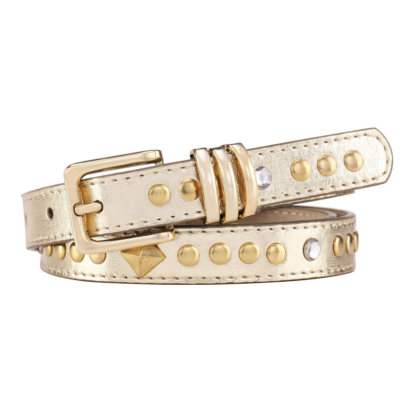 Foreign trade Europe and the United States big brand fashion luxury gold rivet inlay drill pin buckle female style thin belt womens belt