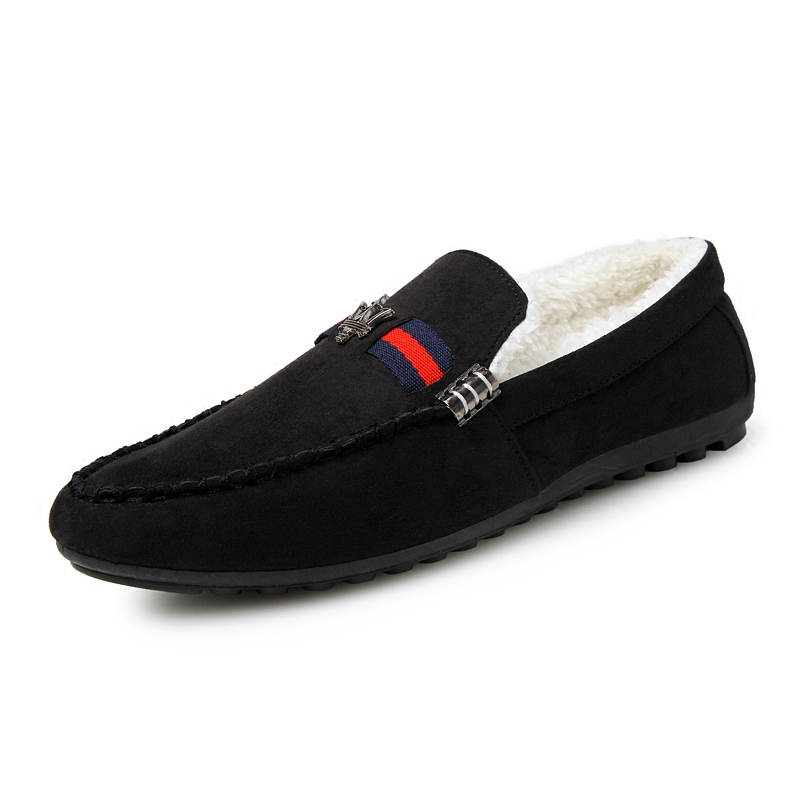 加絨豆豆鞋男士保暖棉鞋懶人一腳蹬 皮鞋男鞋秋潮鞋子