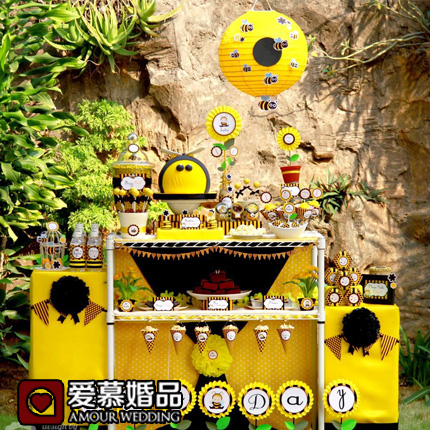 Bee Baby theme children's birthday party supplies party custom birthday party decoration paper dessert table decoration