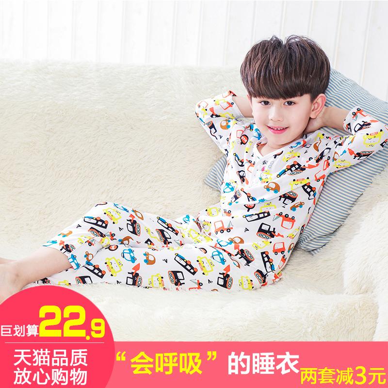 Ребенок пижама лето мальчиков девочки в больших детей хлопок шелк установите ребенок хлопок шелк кондиционер домой одежда короткий рукав тонкая модель