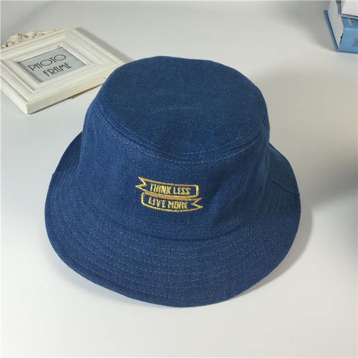 刺繡字母牛仔布盆帽男女漁夫帽子春夏天戶外遮陽帽 帽