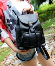The new 2015 edition of sweet female leather bag with drawstring college leisure vacation contracted wind cowhide women backpack