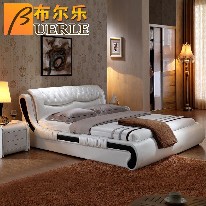 欧式婚床 布尔乐1.8米欧式真皮婚床