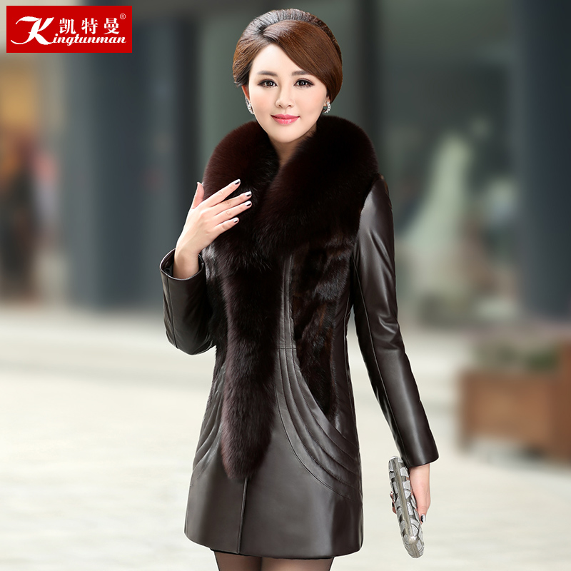 Haining leather down jacket women's mid-length sheep leather fox mink fur coat large size winter thick 2020