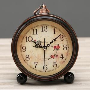 欧式简约复古静音闹钟卧室床头摆件桌面个性创意美式台钟小学生用