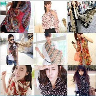 Korean chiffon leopard scarf lengthen large Korean version of the fall and winter scarves female shawl female Variety