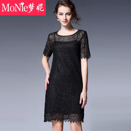 Monie2016 summer new women's fashion hollow Slim was thin short-sleeved A-line skirt lace dress