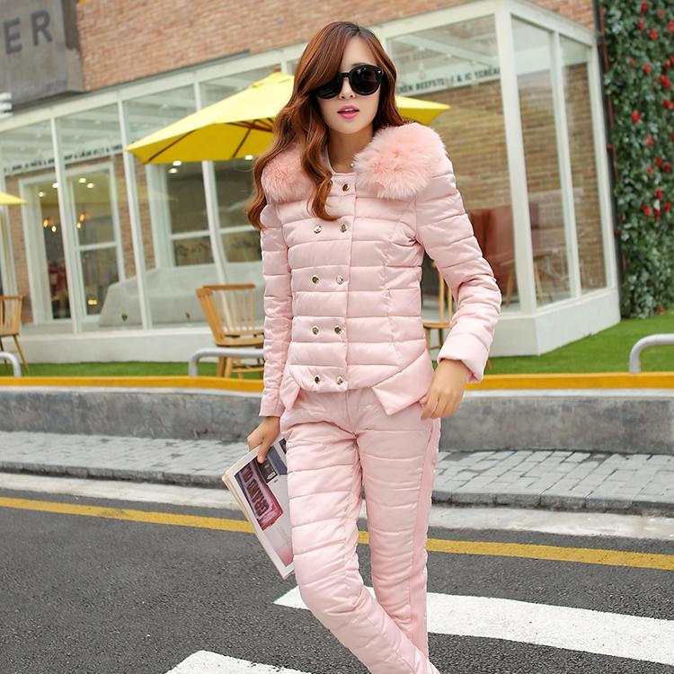 2015 году новый набор толстых пуховыми одеялами и хлопок костюм девушка корейской версии для осень/зима мех воротник короткий тонкий хлопок брюки, которые из двух частей