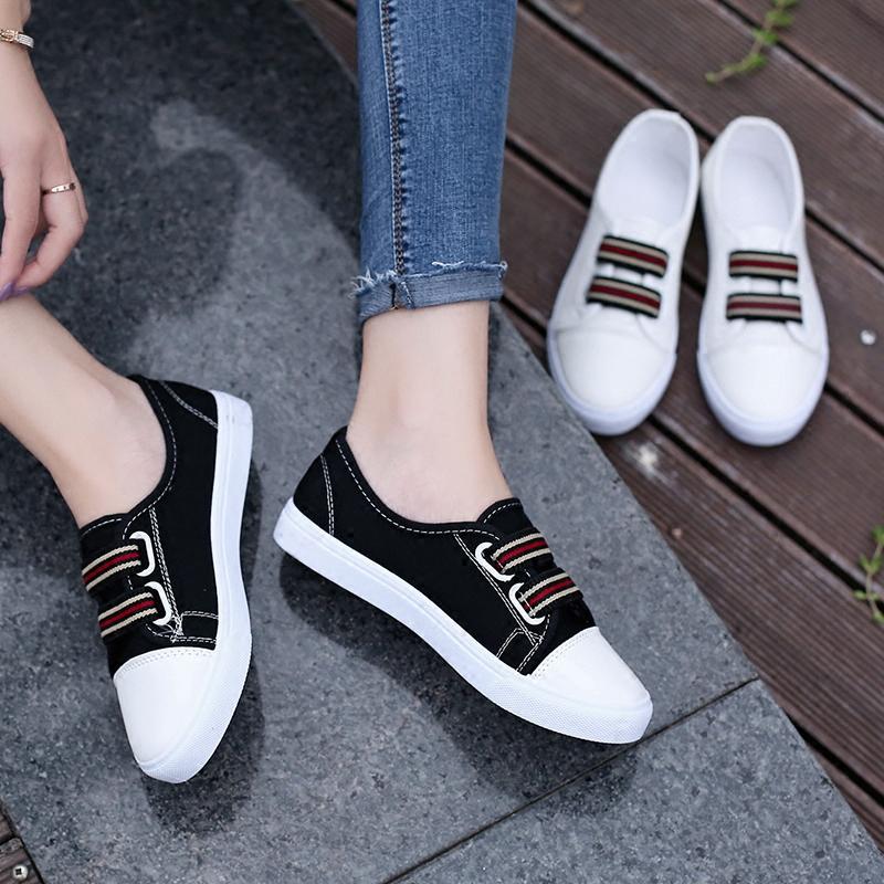 2017夏季新款浅口帆布鞋韩版学生鞋百搭小白鞋平底懒人一脚蹬女鞋
