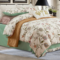 American four-piece set-woven cotton bedding package four-piece cotton set of 4 sheets