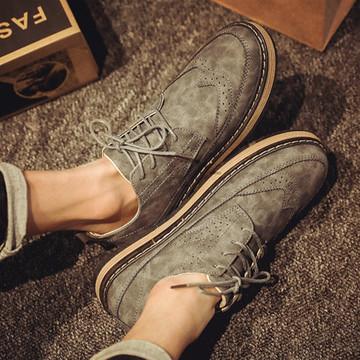 秋冬季英伦短靴男低帮休闲鞋透气板鞋男平底工装皮靴子马丁靴潮靴