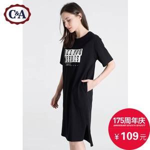 C&A 女式撞色字母直裁开叉连衣裙 CA200177943