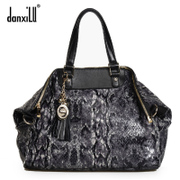 Danxilu 2015 new women's leather handbag women European fashion snake retro wave ladies ladies bag
