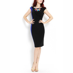 There is always a wait ~ Europe Shoppe new bags shoulder black and blue contrast stitching elastic thin career dresses