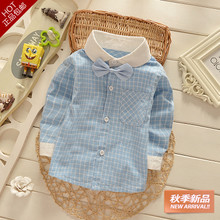 Pure cotton shirts in the autumn of 2015 children with small children's clothing baby boys long sleeve shirt grid baby jacket coat
