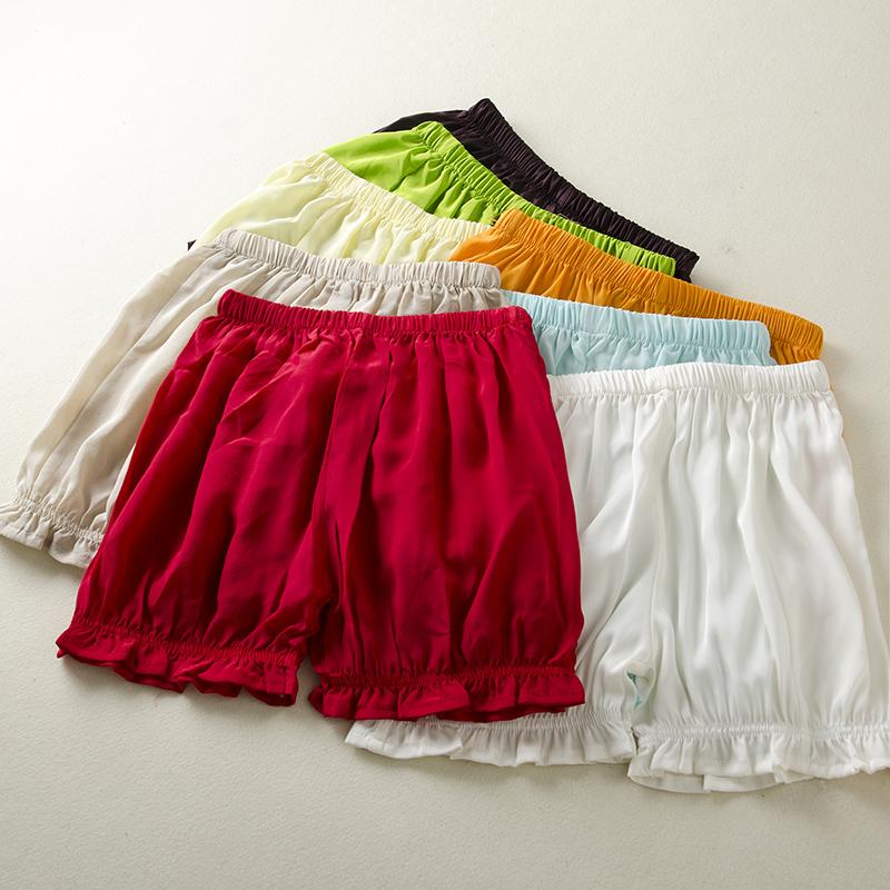 Женщины летние дома для отдыха комфортно и дышащей шелковые шорты 100 шелка в конфеты цвета короткие пижамы брюки женские трусики