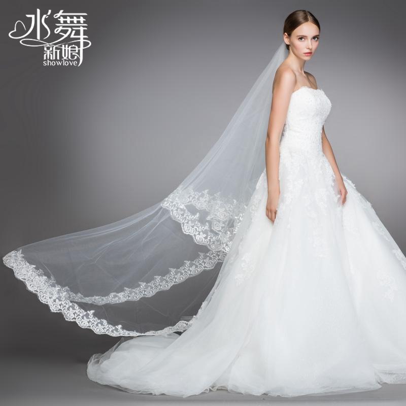 Вуаль 2015 новых Хань Shilei кружевные свадебные танцы воды 3 метров длинный хвост мягкой Органза Свадебные фотографии Свадебные
