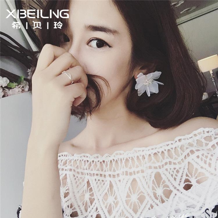 韓國 百搭簡約潮人誇張大氣花朵 耳釘耳飾 風氣質 女