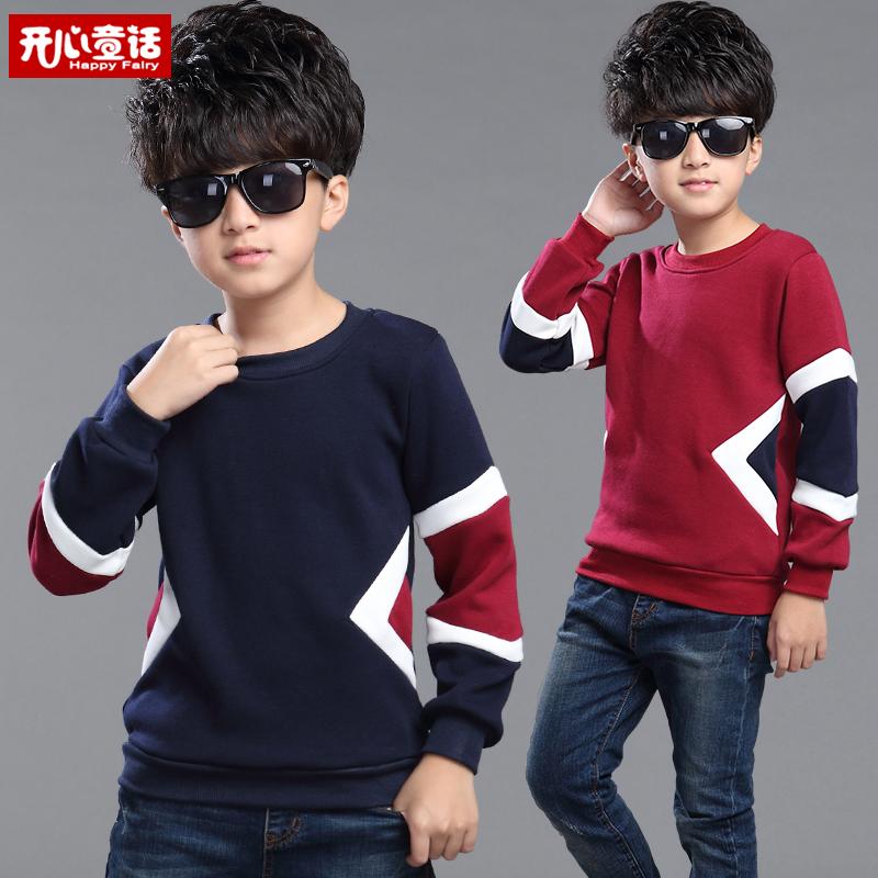 Детская одежда мальчика свитер утолщенные 2016 осень собирает новые дети дети делают рубашки и потоки теплого пальто кашемира