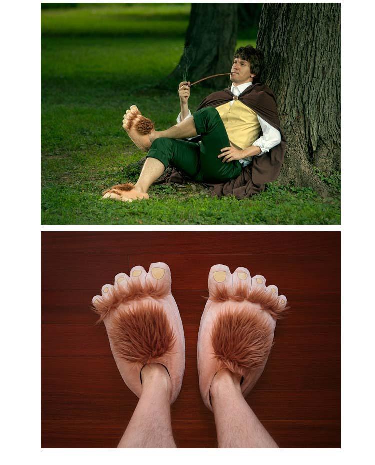 Фильм версия пакета платформы Хоббита с домашней skid обувь для мужчин и женщин зимой пара Плюшевые тапочки на продажу