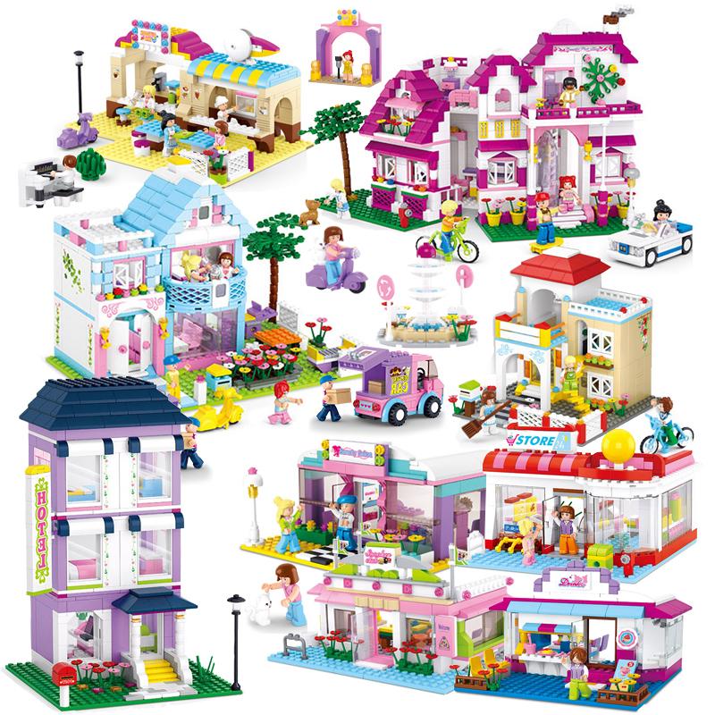 小魯班拚裝積木女孩生日 粉色浪漫小鎮 兒童益智拚插塑料玩具