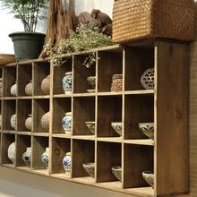 格子展示架擱架茶杯茶具收納架 方格置物架 做舊實木格子置物架