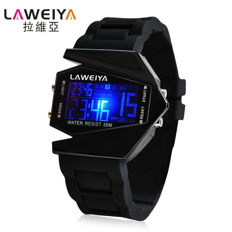 拉維亞兒童手表 飛機男士防水LED手表男女孩子電子表學生