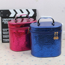 South Korea's new large cylindrical cosmetic bag makeup artist dedicated high-volume waterproof make-up box portable receive package