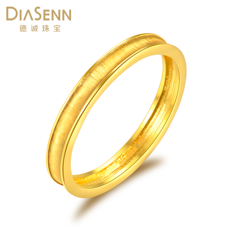 Decheng jewelry gold ring men and women are getting married 999 gold fine polished jewelry NEW