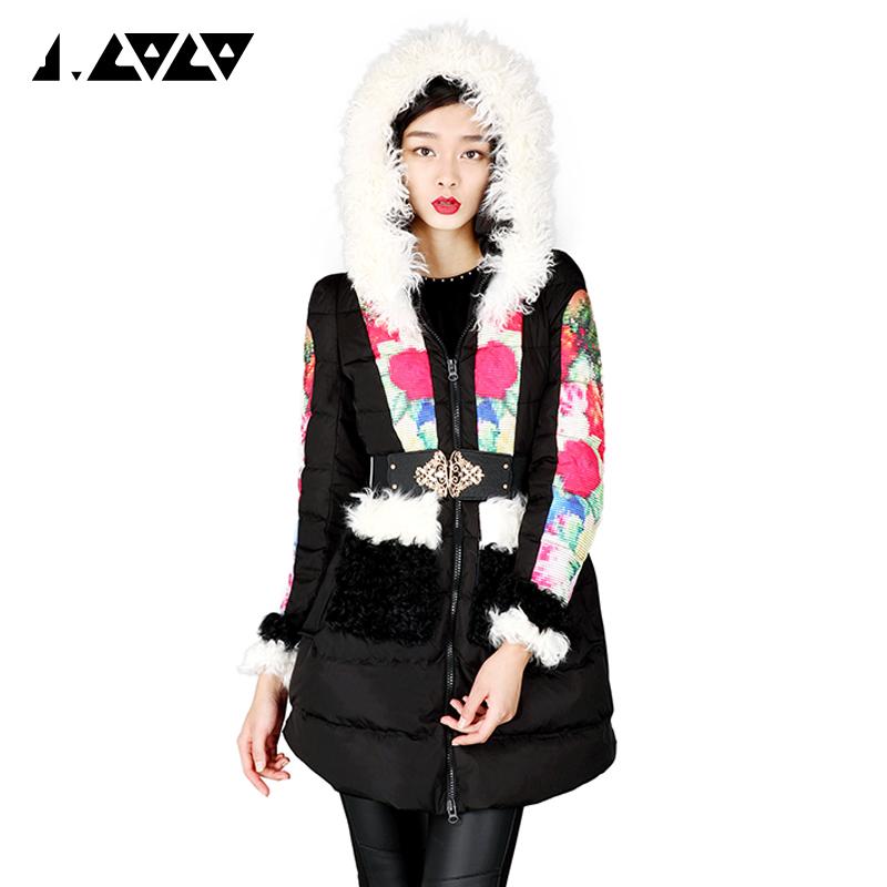 J.COCO2015 Европе зима новый стиль с капюшоном длинный шерсти воротник вниз куртки женщин вышитые длинное пальто