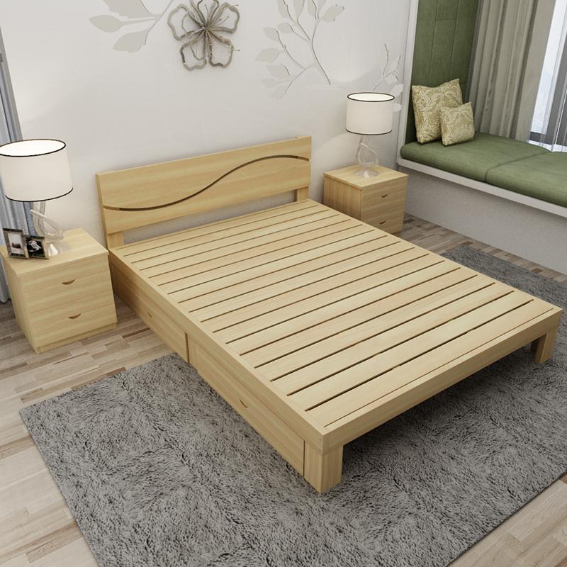 實木床1.8米松木雙人床1.5米經濟型成人現代簡約簡易1.2單人床架