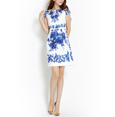 Hand-painted blue-and-white signs ~ retro t cool satin-feel dresses, white blue straight leg slim fit commuter