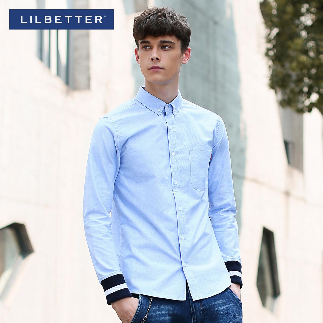 Lilbetter長袖襯衫男 春裝潮流修身牛津紡英倫精紡 男士襯衣